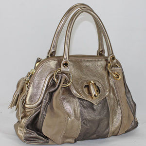 Moschino antique gold gunmetal satchel leather bag